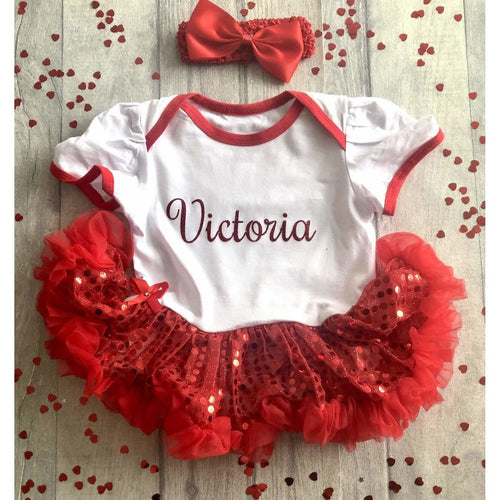 Personalised Red Name red and white sequin tutu romper with matching headband