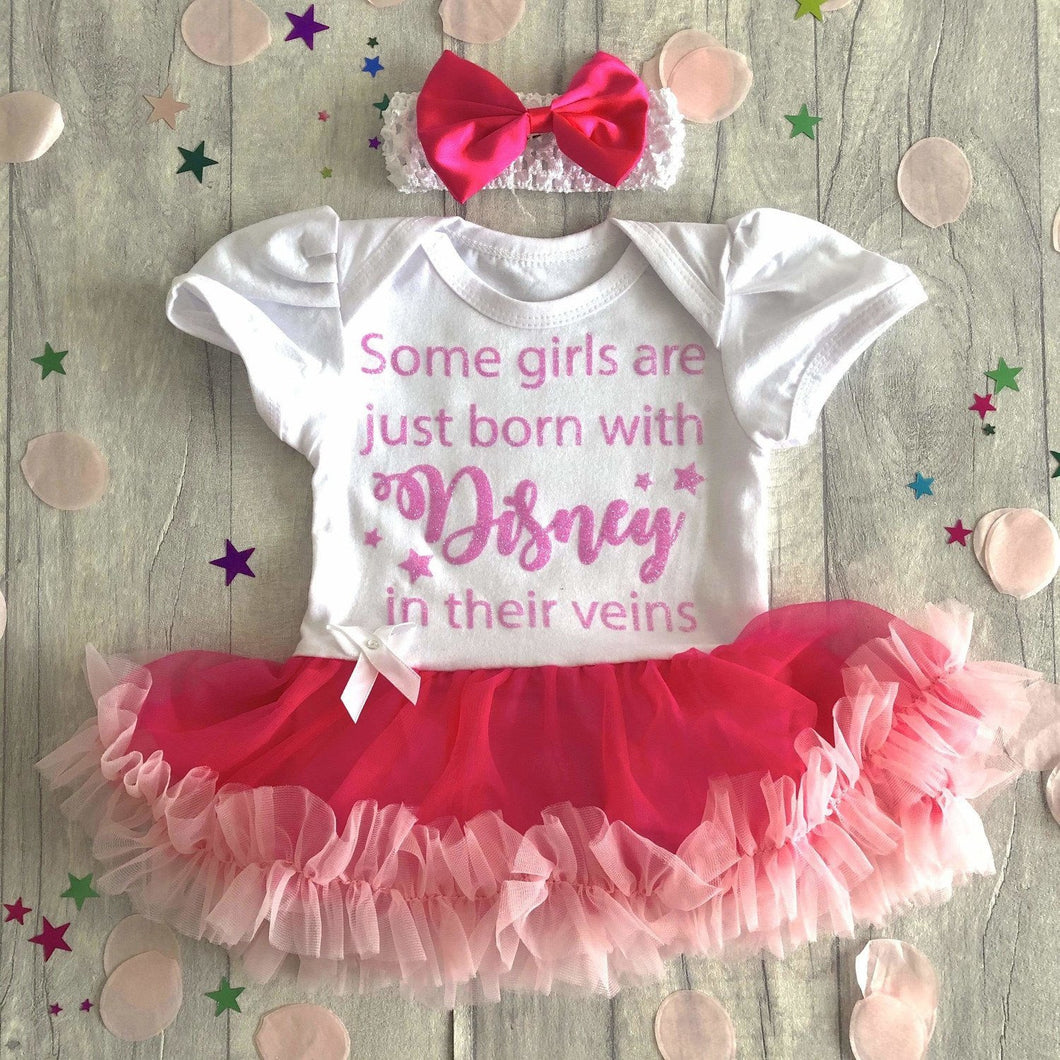 Born with Disney in their veins, Princess baby girl tutu romper dress with headband