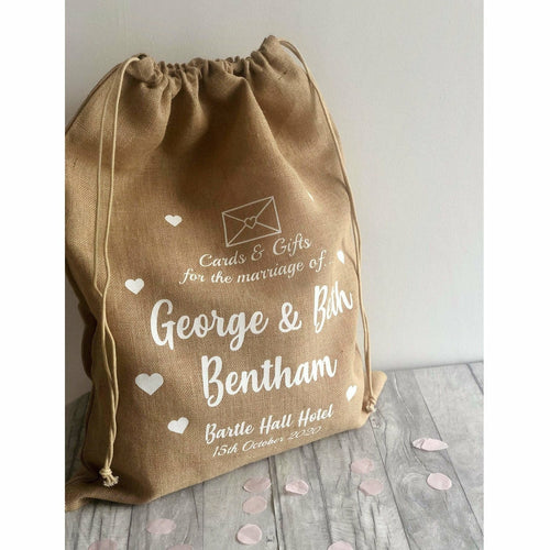 Personalised Hessian Envelope & Hearts Mr & Mrs Wedding Card & Gift Sack
