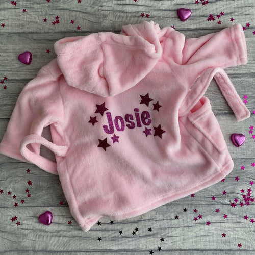Personalised Baby Hooded Dressing Gown/Robe with Star Design