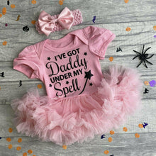 I've got Daddy under My Spell Halloween baby girl tutu romper with matching bow headband