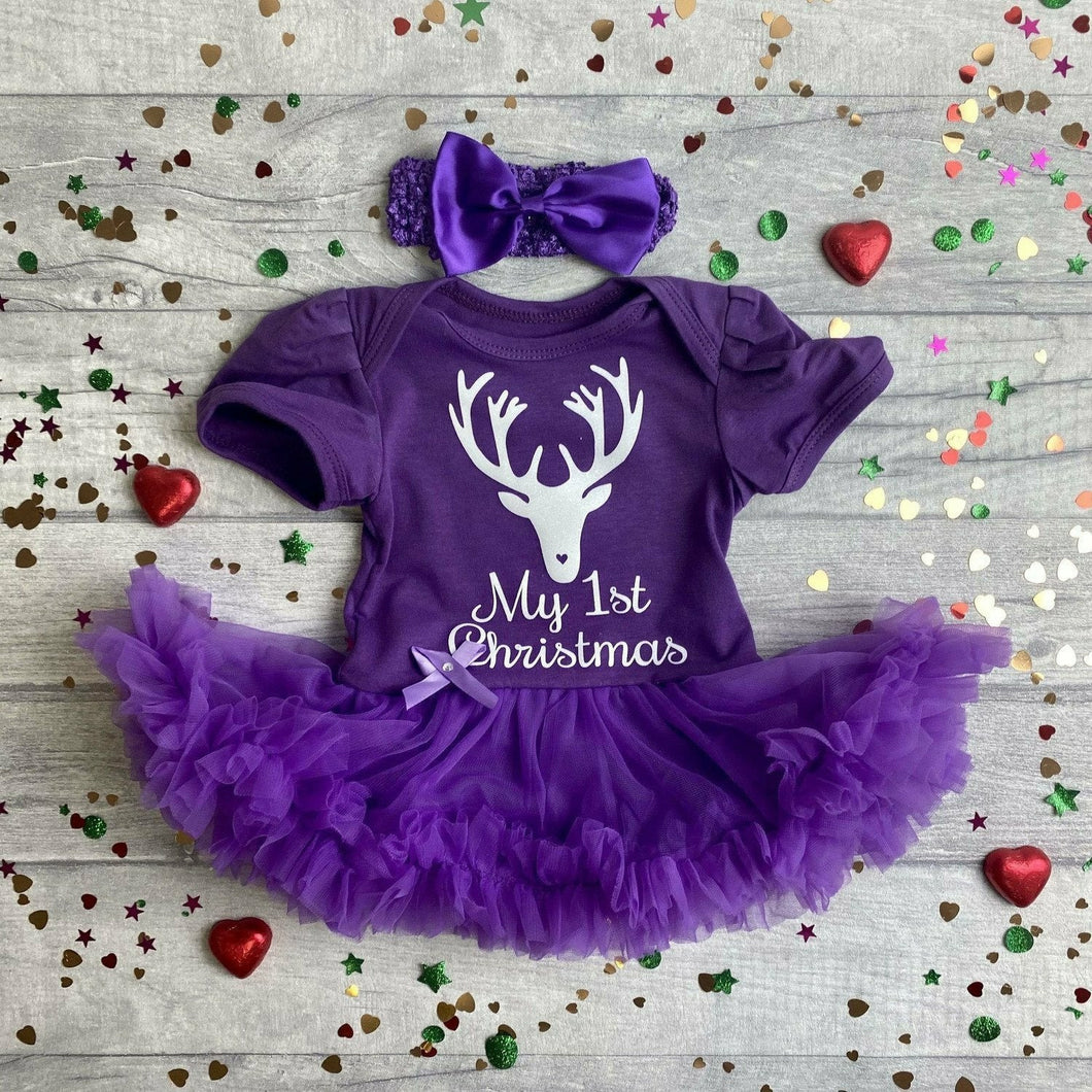 My 1st Christmas reindeer baby girl tutu romper with headband white glitter