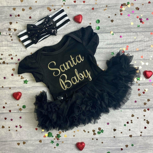 Baby Girl Santa Baby Christmas tutu romper with Black and White sequin bow Headband