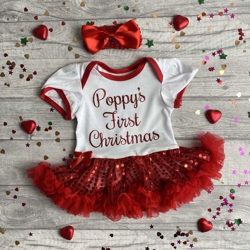 'First Christmas' Personalised Baby Girl Sequin Tutu Romper With Matching Bow Headband