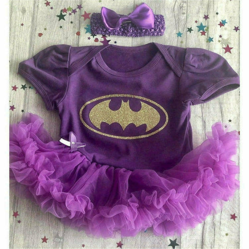 Superhero Batman baby girl tutu romper suit with matching headband