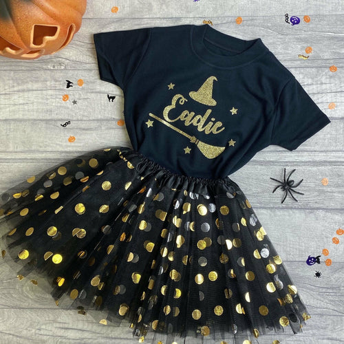 Personalised Witch T-shirt with Matching Black & Gold Tutu 1-6 years, Halloween