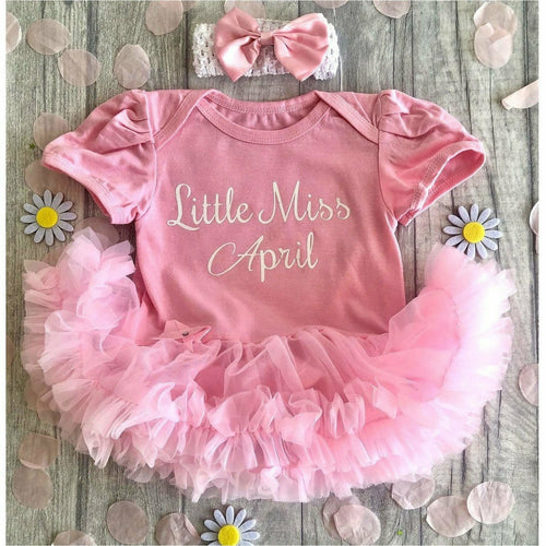 Little Miss April baby girl tutu romper suit with headband