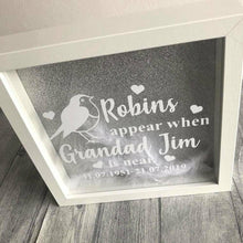 Robins appear when... Grandad, Grandma, Love One is near, personalised remembrance feather filled frame