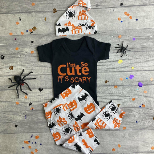 I'm so cute it's scary baby boy short sleeve romper complete Halloween outfit with pumpkin print pants and hat