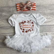 Personalised First Thanksgiving Tutu Romper with a Matching Glitter Bow Headband