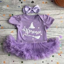 Witch hat and broom white glitter baby girl tutu romper with matching bow head band, baby halloween dress