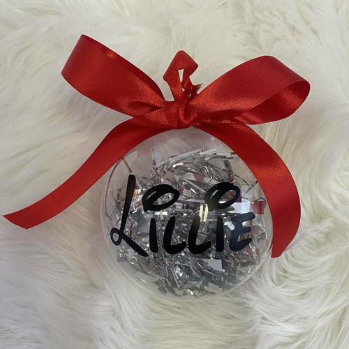 Personalised Disney Christmas Gift Bauble with Tinsel