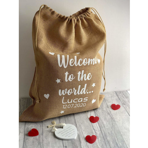 Personalised Welcome to the World Baby Presents Gift Hessian Sack