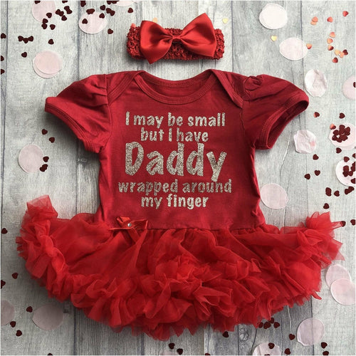 'I May Be Small But I Have Daddy Wrapped Around My Finger' Baby Girl Tutu Romper With Matching Bow Headband