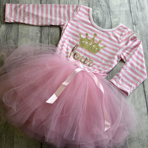 Girl's Birthday Jewelled Crown & Age Below Pink & White Striped Long Sleeve Tutu Dress