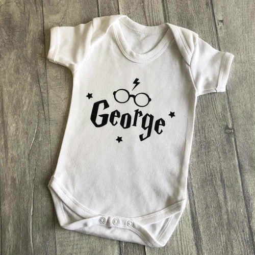 Personalised Harry Potter Glasses and Scar Short Sleeve Romper