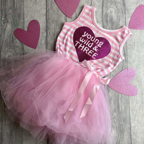 3rd Birthday Young, Wild & Three Girls Pink Stripe Party Dress
