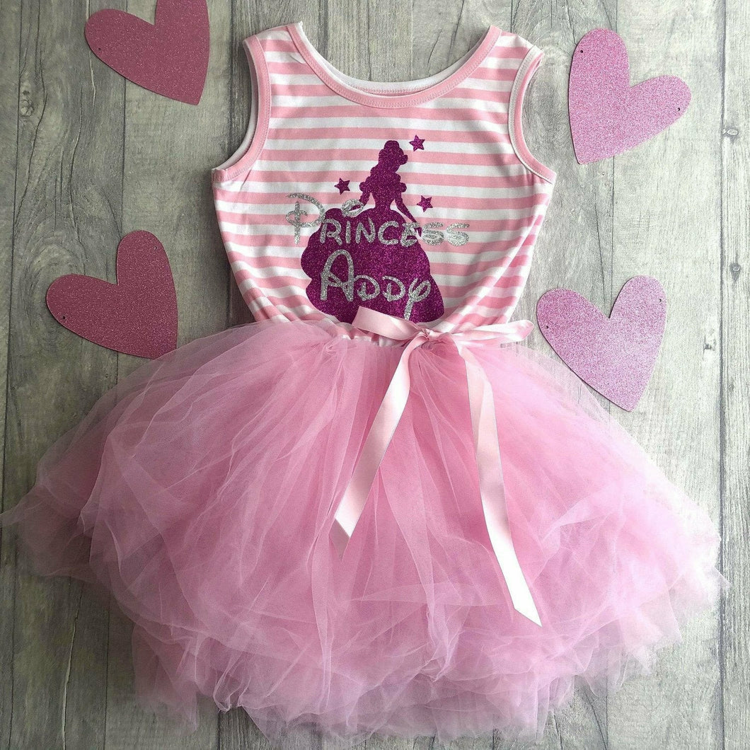 Personalised Princess Belle Outline Stripe Summer Girls Tutu Dress with detachable bow