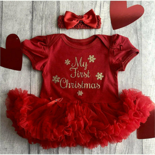 'My First Christmas' Baby Girl Tutu Romper With Matching Bow Headband, Gold Glitter Text