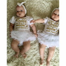 'I Love My Daddy To The Moon And Back' Baby Girl Tutu Romper With Matching Bow Headband, Gold Glitter Design