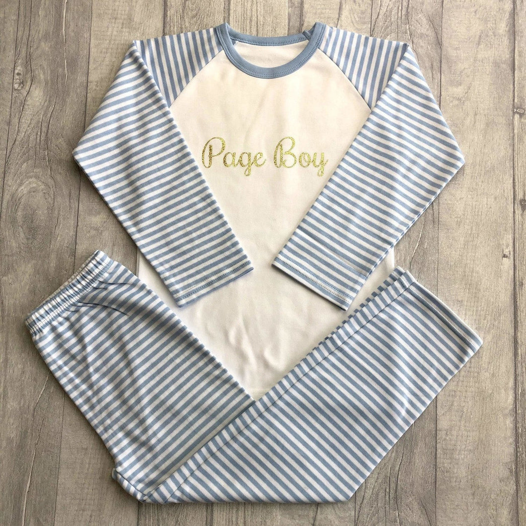 WEDDING PAGE BOY PYJAMAS Boys Long Sleeve Blue and White PJs Gold Glitter