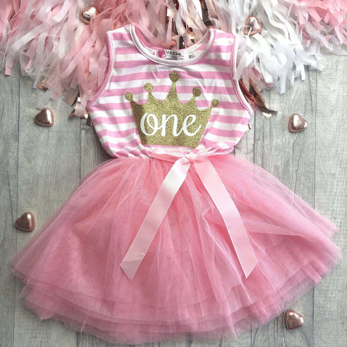 1st First Birthday Crown One Girls Light Pink Stripe Summer Party Dress with Bow