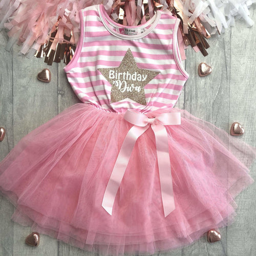 Birthday Diva Star Girl's Light pink Stripe Summer Dress with Bow