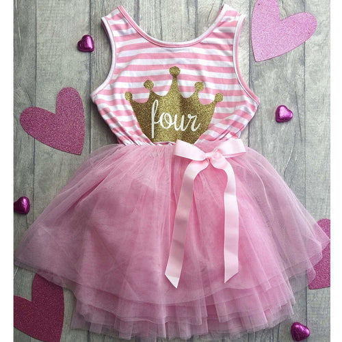 4th Birthday girls light pink stripe summer four crown party dress with detachable bow