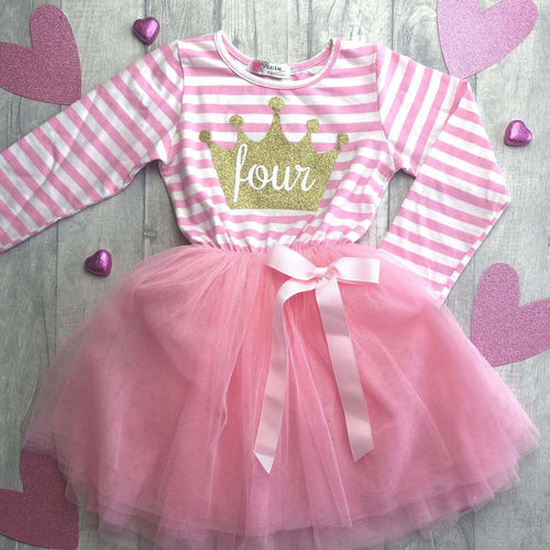 4th birthday pink & white stripe long sleeve four crown tutu dress - Age 4 years
