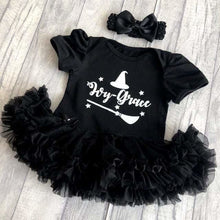 Witches theme personalised halloween baby girl tutu romper white glitter