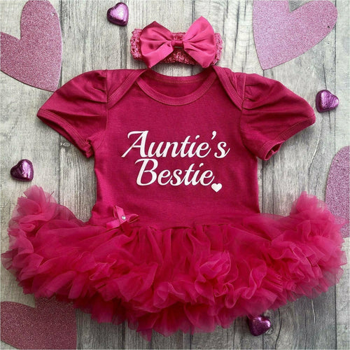 Auntie's Bestie Baby Girl Tutu Romper with headband