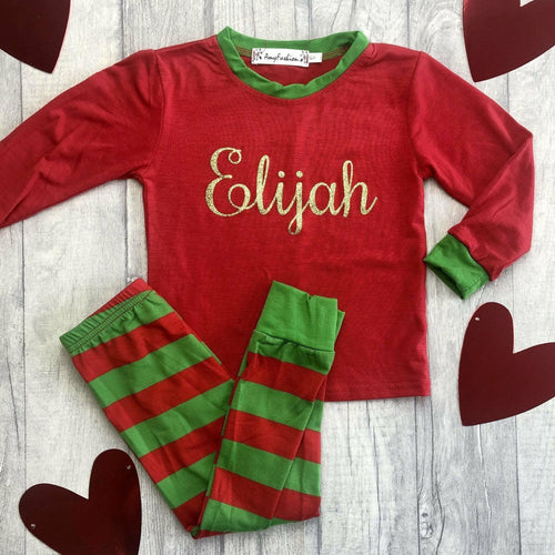 Personalised Red and Green Little Girls & Boys Christmas Pyjamas