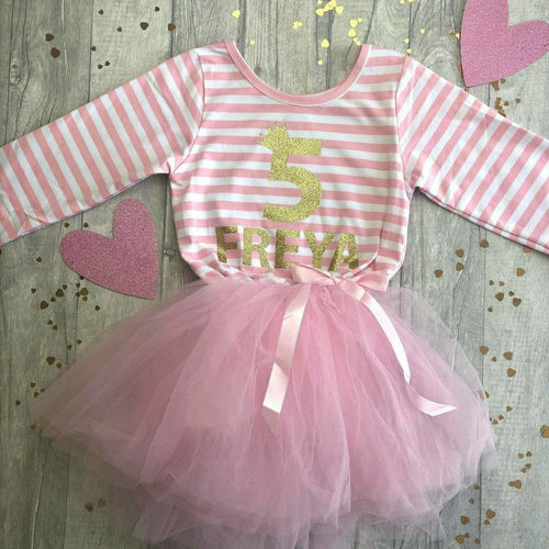 Personalised Number 1st, 2nd, 3rd, 4th, 5th Crown Birthday Girl's light pink long sleeved stripe tutu dress