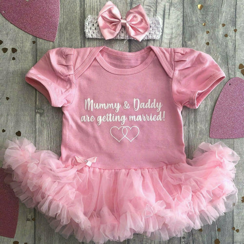 'Mummy & Daddy Are Getting Married!' Baby Girl Tutu Romper With Matching Bow Headband, Wedding