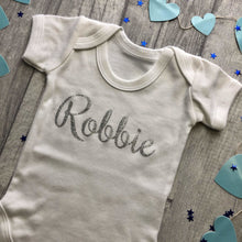 Personalised Short Sleeve Romper with Silver Glitter Name Babygrow