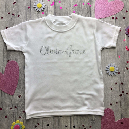 Personalised Name White T-shirt Boy or Girl