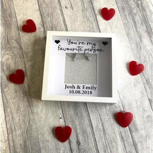 You're my favourite person personalised couple anniversary relationship photo box frame