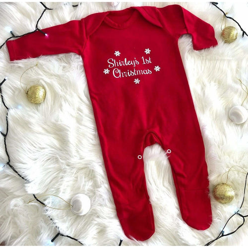 Personalised Babies 1st Christmas Red Full Body Suit, White Glitter snowflake design