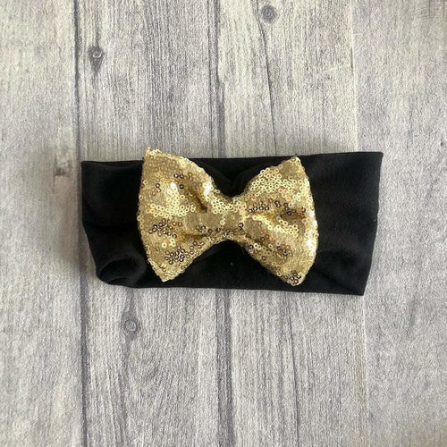 Black and Gold Sequin Glitter Headband