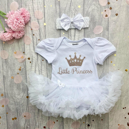 'Little Princess' Baby Girl Tutu Romper With Matching Bow Headband, Rose Gold Glitter