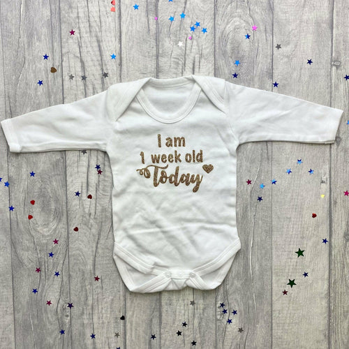 'I Am 1 Week/Day/Month Old' White Baby Girl Or Boy Long Sleeve Romper