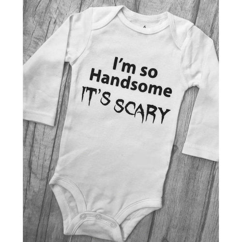 Boys I'm so handsome it's Scary Halloween white long sleeve romper outfit. little secrets clothing makes the cutest tutu romper with matching headband. personalised specifically for halloween. it makes the perfect halloween outfit for your baby girl. Buy from little secrets clothing to make sure you're getting affordable, money savings outfits but of the highest quality alike high end designers such as YSL, jimmy Choo, Versace, Burberry, Valentino, Yves saint Laurent, Jimmy Choo