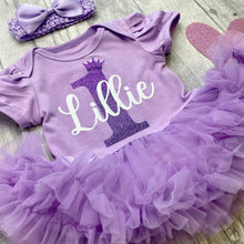 Personalised 1st Birthday Baby Girl Birthday Tutu Romper With Matching Bow Headband