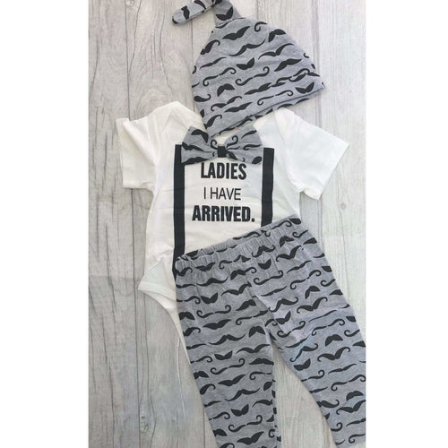 Ladies I have Arrived boys romper with Pants, Romper and Hat