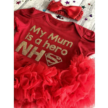 'My Mum Is A Hero NHS' Baby Girl Tutu Romper With Matching Bow Headband