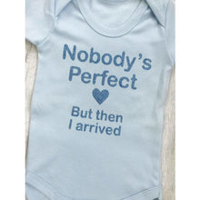 Personalised Nobody's Perfect...but then I arrived blue baby boy short sleeve romper