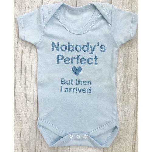 Personalised Nobody's Perfect...but then I arrived blue baby boy romper