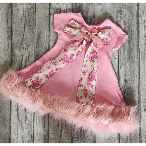 Boutique Unique Luxurious Pink Fur Trim Girls Party Dress