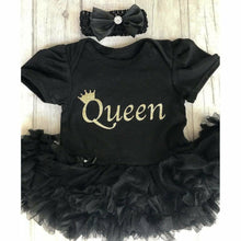 Queen baby girl tutu romper suit with matching headband