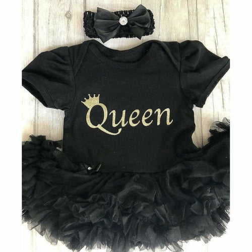 Queen Crown Baby Girl Tutu Romper With Matching Bow Headband